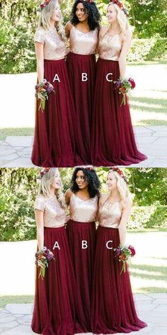 Gold Sequin Burgundy Skirt A-line Long Bridesmaid Dresses With Short  Sleeves Online d82edfba0