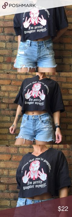 Gangster crop top So sick! Men's large cut into a women's one size fits most!! XS model in the picture. Graphics are crackling but that makes the shirt look vintage! Vintage Tops Crop Tops