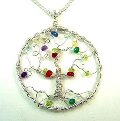 Genuine Faceted gemstones - Birthstone Family Tree necklace pendant - Tree of Life - mother grandmother - personalized gift genealogy