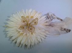 Handmade  ivory feather flower fashion hair clip with an amazing butterfly #Handmade
