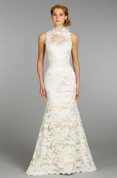 High Neck A-Line Wedding Dress  with Natural Waist in Lace. Bridal Gown Style Number:32796211