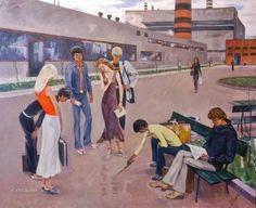 Неизвестнй художник «Студенты» 1982