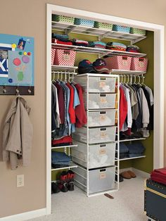 Organizing a closet for two (for kids): put a tower of drawers in the center so each child has their own side. Assign drawers/shelf space/baskets to avoid squabbles or confusion. Best Organization Ideas #organized #organizing