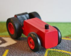 Toy Red Farm Tractor - Handcrafted Wooden Red Toy Farm Tractor - Farm Garden…