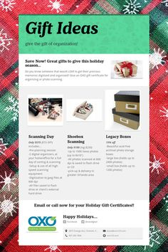 Give the gift of organization!  Who doesn't want to get those old photos & scrapbooks scanned & organized?