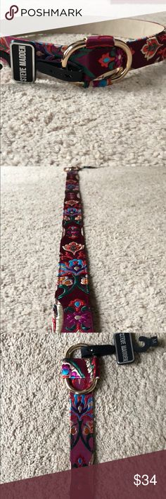 "New Steve Madden belt size medium Beautiful satiny floral Steve Madden multi colored belt. Approximately 40"". Loop closure so it's pretty adjustable. Steve Madden Accessories Belts"