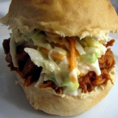 pulled pork with cole slaw! we just had this for my sisters wedding luncheon and although messy, it is soooo yummy!