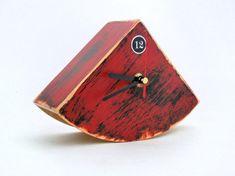 Wooden CLOCK red / black   Free shipping  Rustic by ArtmaStudio, $37.00