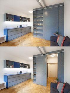 Compact Kitchen, Plywood, Praha, Loft, Herringbone, Bed, Villa, Furniture, Home Decor