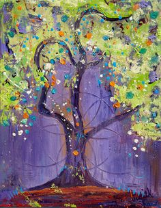 Small Print Tree Art - Solstice Tree by PaintingsJudithShaw on Etsy