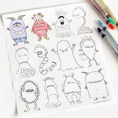 Free Halloween printables -monsters colouring page by Dabbles and Babbles