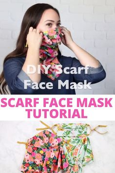 Sew a Filtered Mask, with T-Shirt Ties, Using The Sweet Red Poppy Scarf FREE Pattern with 5 Different Sizes for a PERFECT Fit! Easy Face Masks, Diy Face Mask, Diy Mask, Homemade Face Masks, Easy Sewing Projects, Sewing Tutorials, Sewing Hacks, Sewing Crafts, Sewing Patterns Free