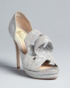 Jerome C. Rousseau Peep Toe Evening Pumps - Kier | Bloomingdale's, bride, bridal, wedding shoes, bridal shoes, wedding, bride shoes, designer shoes, haute couture, silver shoes, sparkly shoes, shoe bling