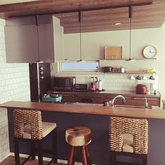 Kitchen/キッチンカウンター/STAUB/バースツール/IKEAワゴン/バーチェア...などのインテリア実例 - 2017-02-26 03:50:07