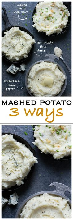 Creamy mashed potatoes three ways! Choose from blue cheese, roasted garlic or horseradish black pepper | Foodness Gracious