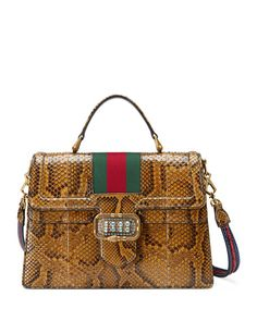 a7eccdab067 Get free shipping on Gucci Linea Web Python Satchel Bag at Neiman Marcus.  Shop the