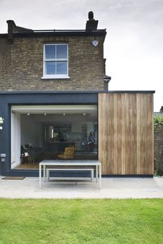 kitchen extension , sliding doors and cedar cladding by Alex Findlater… Wooden Cladding, Cedar Cladding, House Cladding, Wood Cladding Exterior, Black Cladding, House Extension Design, Glass Extension, Roof Extension, Extension Google