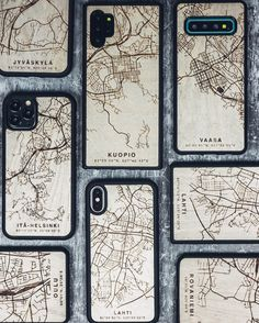 """Show where you are from or what is your favorite city in the World.  Your city map engraved on real Finnish birch wood.  Go to our site: L A S T U. C O  Choose your city from the dropdown menu on this page or select """"Custom Made"""" and let our designer design your case from any location in the world. - - #designfromfinland #finnishdesign Birch, The Selection, Menu, City, Wood, Instagram, Design, Menu Board Design, Woodwind Instrument"""