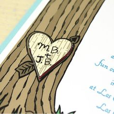 heart in tree wedding invitation