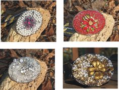 Beltbuckles made from reclaimed vintage jewels.