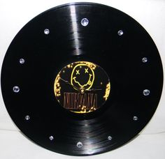 NIRVANA Smiley Face Inspired Vinyl Record by PandorasRecordArt, $25.00