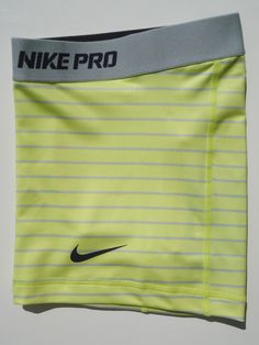 """New Yellow Grey Stripe XS Nike Pro Combat 2 5"""" Women's Dri Fit Shorts x Small 