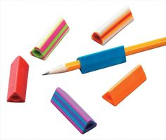 Triangular Pencil Grips, these are great for pre-schoolers just learning how to hold a pencil.