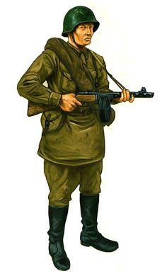 ARMATA ROSSA - 1942-43 Ostfront. Soldato sovietico armato con una PPSh-41