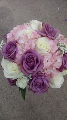 Loved it! Pinned it! A Blooming Envy Design! Bridal Bouquet with Pink Hydrangea, White Roses, Purple/Cool Water Roses, Baby's Breath.