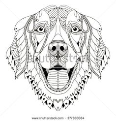 Golden retriever dog zentangle stylized head, freehand pencil, hand drawn, pattern. Zen art. Ornate vector. - stock vector