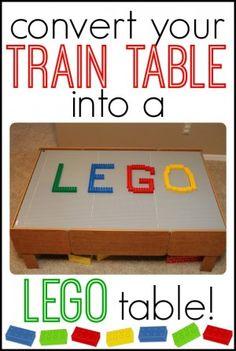 Convert Your Train Table into a LEGO table {Icanteachmychild}