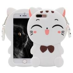 iPhone 7 Plus Case, MC Fashion Lucky Fortune Cat Kitty with Cute Bow Tie Silicone Phone Case Cover for Apple iPhone 7 Plus and iPhone 8 Plus (White) Girly Phone Cases, Iphone 7 Plus Cases, Iphone 7 Cases, Coque Iphone 5s, Coque Samsung Galaxy J3, Apple Iphone, Buy Iphone 7, Silicone Phone Case, Ipad