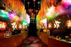 展示エリアのイメージ  水花火(左)、金魚花火(中)、傘花火(右)