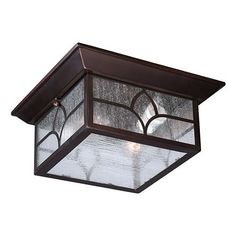 Stanton Claret Bronze Two-Light Outdoor Flush Mount with Clear Seeded Glass
