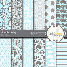50% Off Sale: Blue Baby Digital Scrapbook by LittleLlamaShoppe