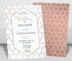 Modern Rose Gold Geometric Wedding Invitations