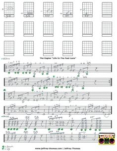 The Eagles Life In The Fast Lane guitar tab by Jeffrey Thomas. Learn all the right licks arranged for one guitar. Free Skype guitar lessons available!