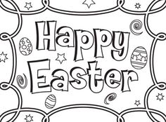 Happy Easter Images and Pictres to color for kids Easter Coloring Pages Printable, Easter Bunny Colouring, Easter Egg Coloring Pages, Cute Coloring Pages, Adult Coloring Pages, Coloring Pages For Kids, Colouring Sheets, Merry Christmas Coloring Pages, Happy Easter Messages