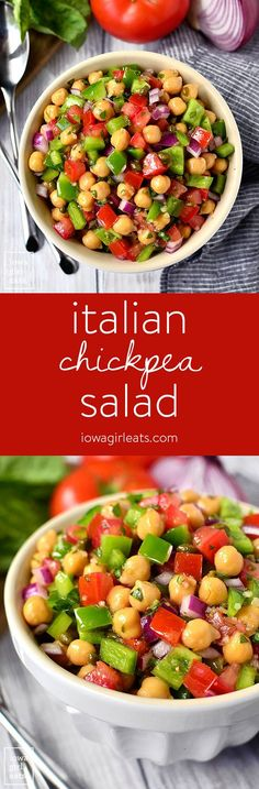 Italian Chickpea Salad is a simple, vegetarian salad recipe that's full of fresh and healthy ingredients. It's the perfect side dish for parties and potlucks!  | iowagirleats.com
