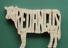 Red Angus Cow Puzzle Cut On Scroll Saw by DukesScrollSaw on Etsy
