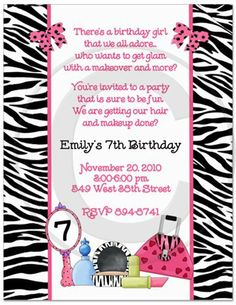 Diva Glamor Birthday Party Invitations - Set of 20 by Bless Express. $18.00. From BlessExpress.com Celebrate your glamor girl's birthday with our makeup party invitations. Perfect for a diva theme party or a glamor girl party. Your choice of wording. Address labels included.