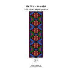 peyote pattern beading HAPPY bracelet