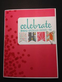 Celebrate Birthday Card Using Stampin' Up! Dotty Angles and Fabulous Four Stamp Sets/ www.stampinwithlinda.com