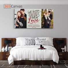 "Whether it has been one, five, or ten years to your marriage, love is what made you two possible. Instead of giving flowers and chocolates on your anniversary, give your loved one a unique gift. Our ""All Because Two People Fell In Love"" Custom Photo Canvas Print is a one-of-a-kind gift. It communicates exactly what you want to express. Personalize it with photos and edit names and the date. #couple#anniversaryday#anniversarygift#anniversarygiftideas#love#canvas#decor"