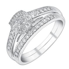 9ct white gold half carat cushion halo bridal set - Product number 3113906- THIS IS THE ONE