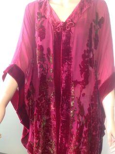 Silk Floral  Kimono Shrug Burgundy Green Bohemian Stylish Chic Spring Summer #MinaSelections #tunicwrapkimonojacket #casualeveningdaytime