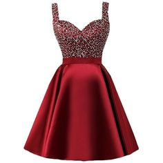 QueenBridal A Line 2017 Beading Bodice Party Dress Short Homecoming... ($80) ❤ liked on Polyvore featuring dresses, gowns, red gown, short evening gowns, short evening dresses, short a line dresses and red ball gown