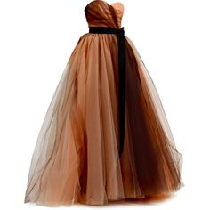 Satinee's collection - Carolina Herrera ❤ liked on Polyvore featuring dresses, gowns, vestidos, long dresses, brown dress, carolina herrera gown, carolina herrera evening gowns and long brown dress