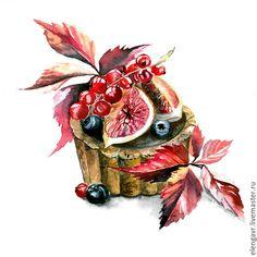 Купить Иллюстрация еды - комбинированный, еда, рисунок, рисунок на заказ, рисунок акварелью, акварель