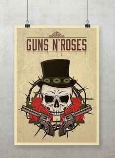 Guns n' Roses Poster Vintage Guns n' diseño impresión